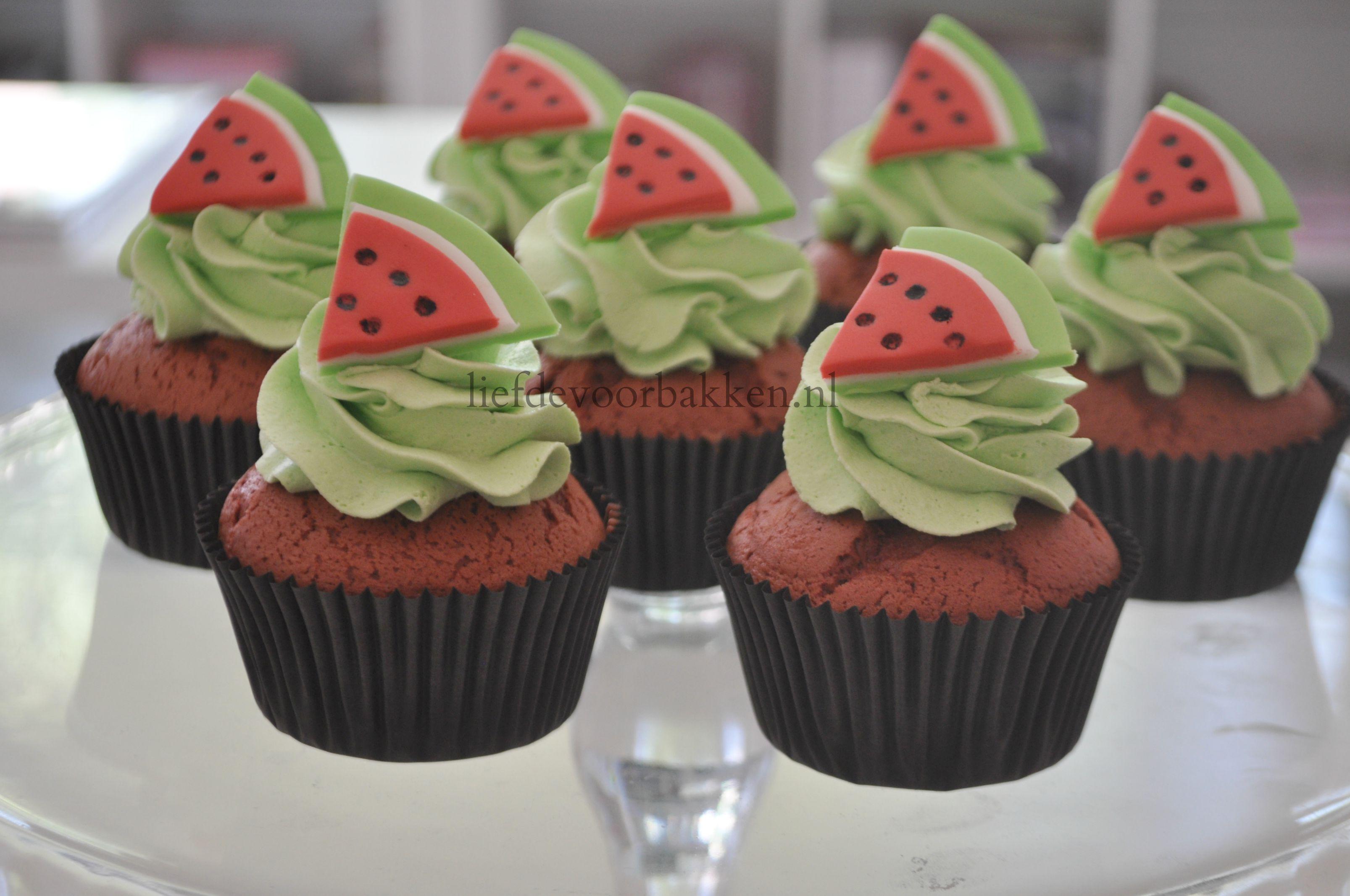 Red velvet watermeloen cupcakes